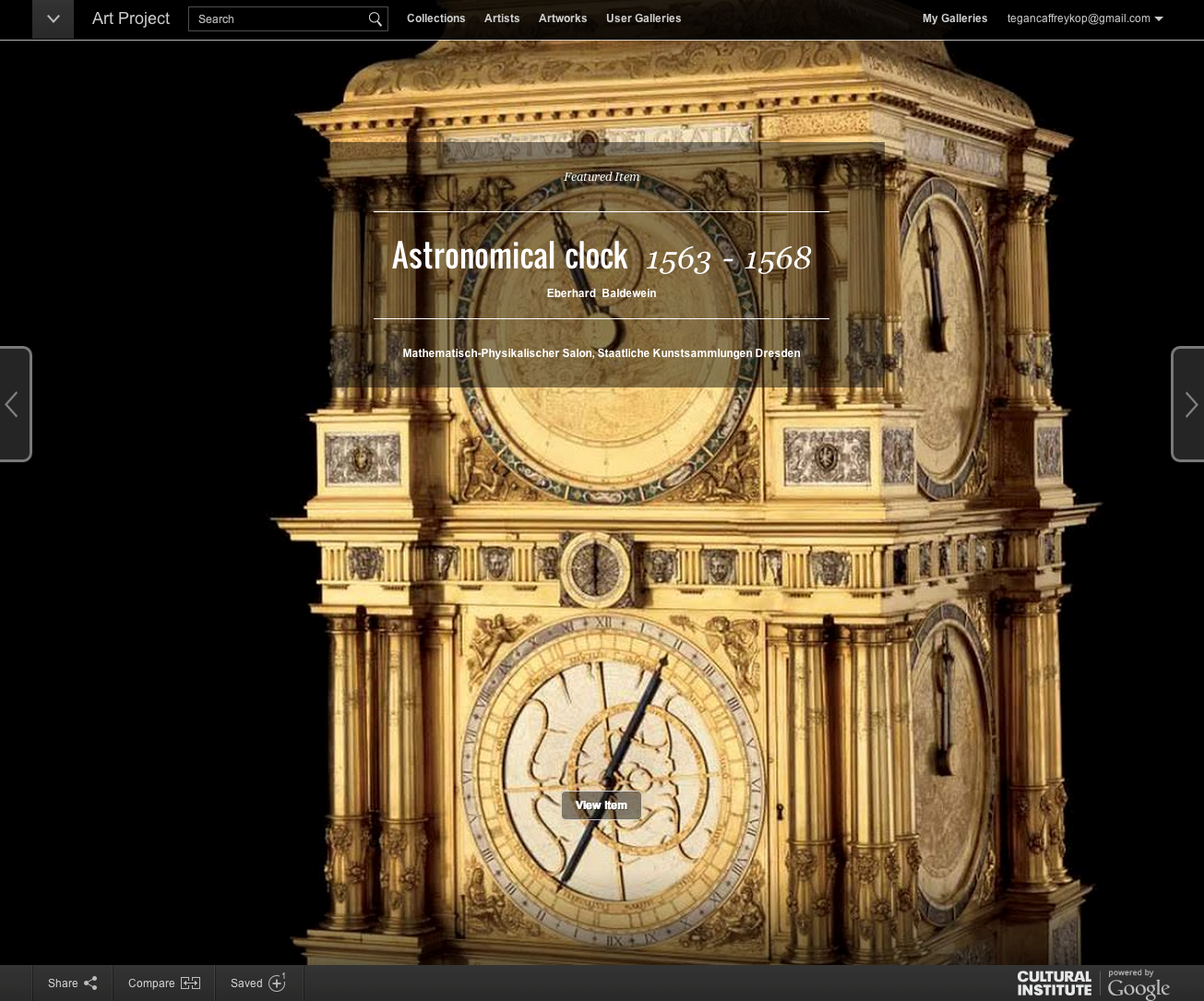 A snapshot of an interactive view of an Astronomical Clock from 1563 in Google Cultural Institute