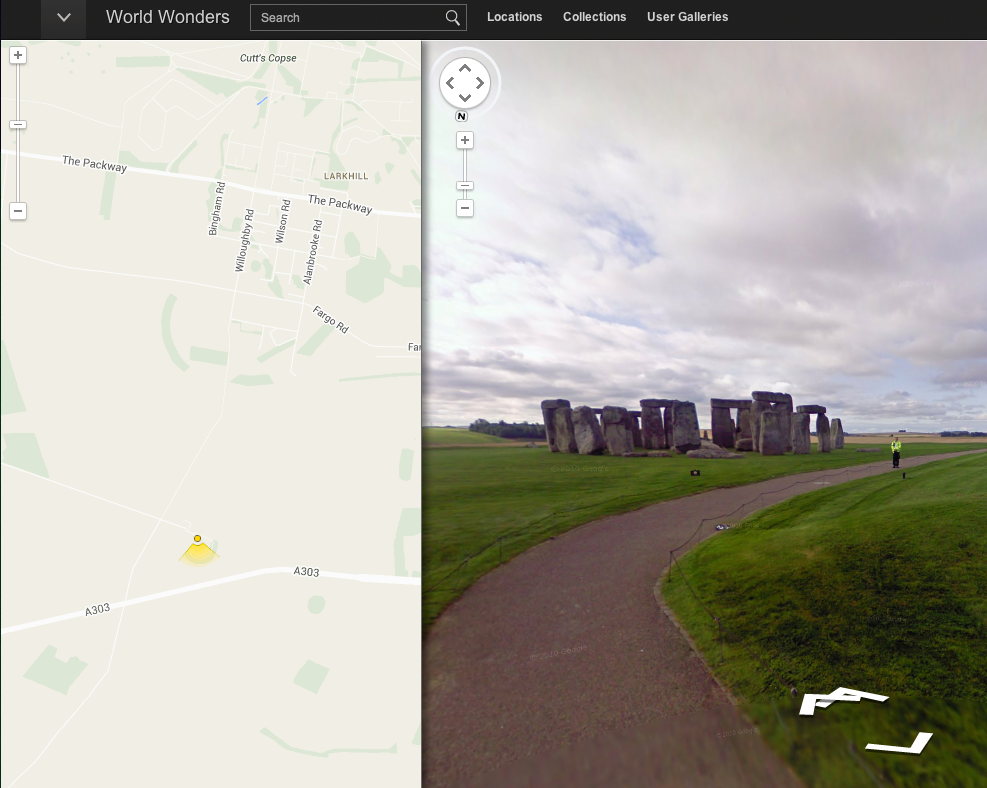 A snapshot of an interactive view of Stonehenge, England using Google Cultural Institute