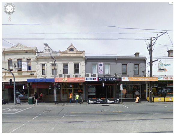 A snapshot of an interactive view of Victoria Street, Richmond using Google Street View