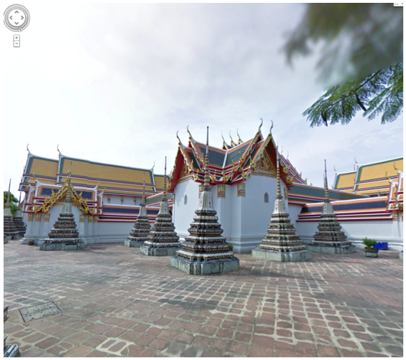 A snapshot of an interactive view of a temple in Thailand using Google Street View