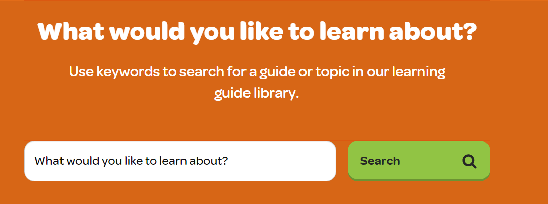 Search for learning guides on the Go Digi Landing Page