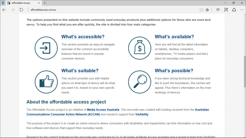 Screen shot of Affordable Access website